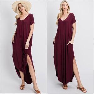 Boho Oversized Pocket V neck Slit Maxi Dress Wine